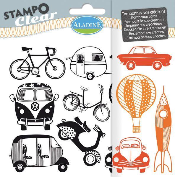 Sada gelových razítek od francozské firmy Aladine StampoClear, Dopravní prostředky