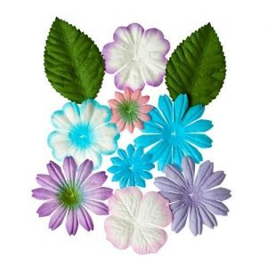 Sada mini dekoračních papírových květin - tyrkysové, levandulové