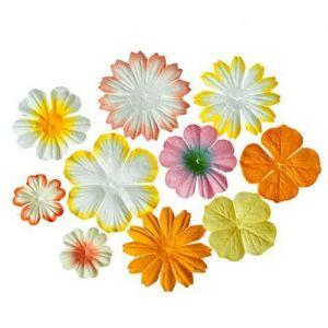 Sada mini dekoračních papírových květin - žluto-oranžové (10ks)