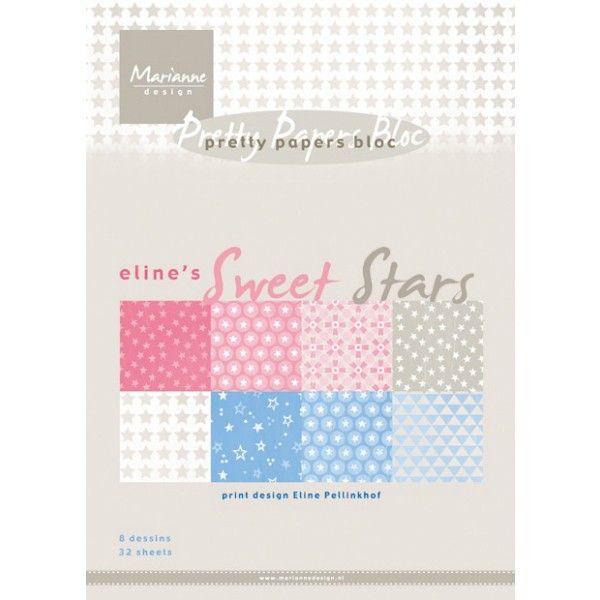 Sada papírů na scrapbooking Sweet Stars, A5 - 8 ks Marianne Design