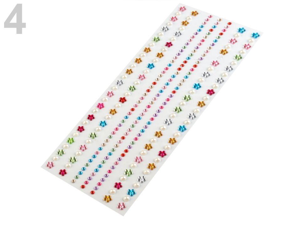 Samolepící dekorace kamínky a perly - barevný mix na scrapbooking nezařazeno