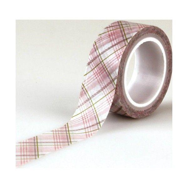Samolepicí papírová washi páska proužkatá do růžova 1,5 cmx4,5 m echo park paper co.
