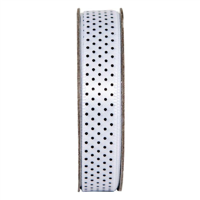 Stuha saténová puntík bílá, 3 m, na scrapbooking, cardmaking, zdobení na bloky, přání, alba a stránky Anita´s