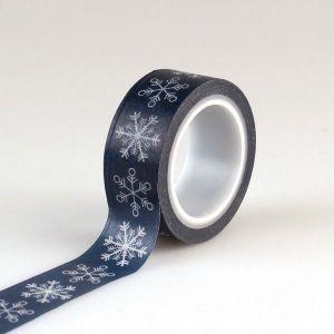 Washi páska Modrá se sněhovými vločkamiTmavě modrá se sněhovými vločkami