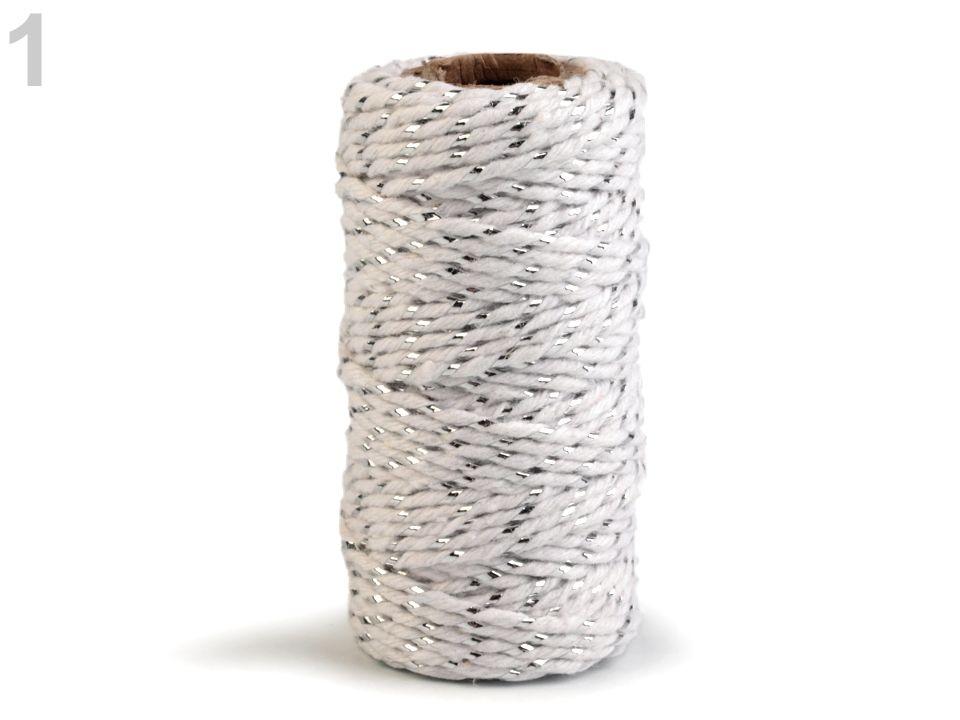 Lurexová vánoční šňůra - bílá stříbrná 17 m Stoklasa