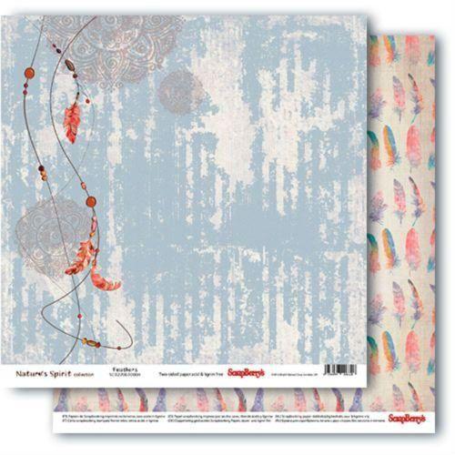 Oboustranný papír na scrapbook ScrapBerry´s Feathers vyšší gramáže 180 gsm SCRAPBERRYS