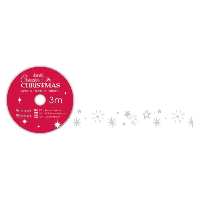 Stuha (3m) Vánoce proužky na scrapbooking, cardmaking, zdobení na bloky, přání, alba a stránkyStuha saténová bílá s hvězdičkami - DOCRAFTS PAPERMANIA