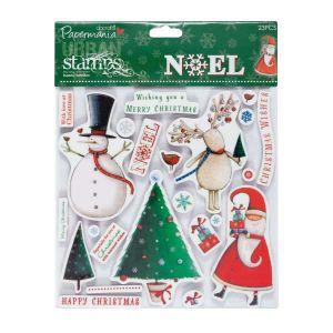 Velká sada Cling razítek Noel - Vánoční přání - 23 ks