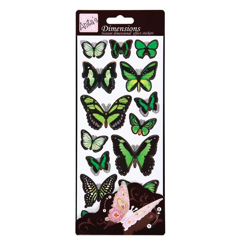 Plastické samolepky Motýlí křídla WINGS (GREEN) Anita´s
