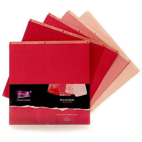 Sada čtvrtky ColorCore jahodová (BERRY REDS) 30,5 x 30,5 cm - 4 kusy! ColorCore Cardstock