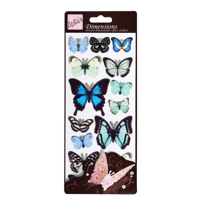 Plastické samolepky Motýlí křídla WINGS (BLUE) Anita´s