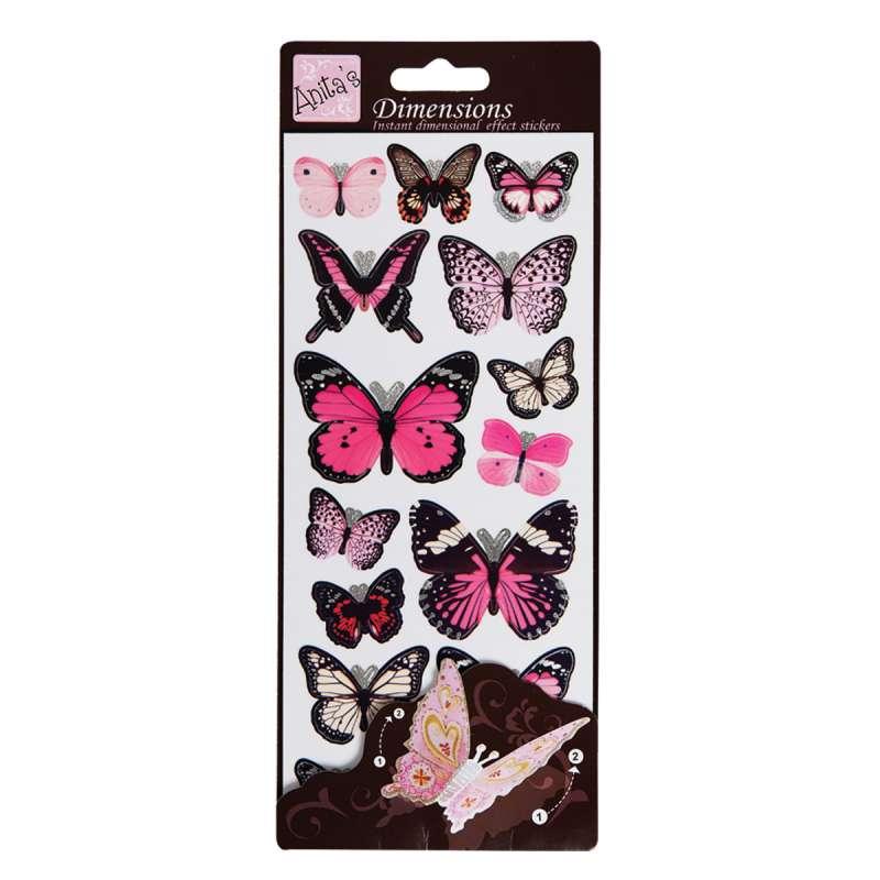 Plastické samolepky Motýlí křídla WINGS pink Anita´s