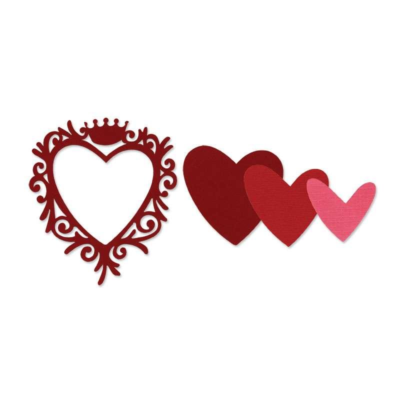 Kovová vyřezávací šablona Framelits Srdce, rámeček s korunou Sizzix