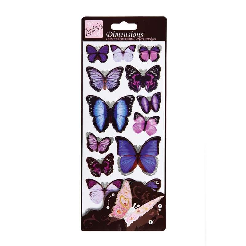 Plastické samolepky Motýlí křídla WINGS purpl Anita´s