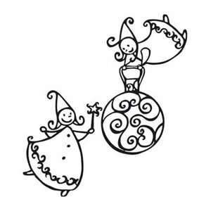 Aladine Dřevěné Razítko velikost E ANDÍLCI - vánoční víly