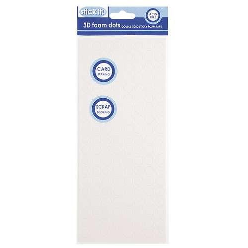 Lepidlo vhodné na scrapbooking i cardmaking 3D pěnové polštářky Tečky bílé 10 mm Design Objectives