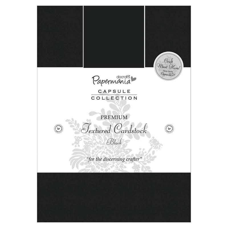 Sada čtvrtek na scrapbook A5 PREMIUM Textured Cardstock Black 20 ks Papermania