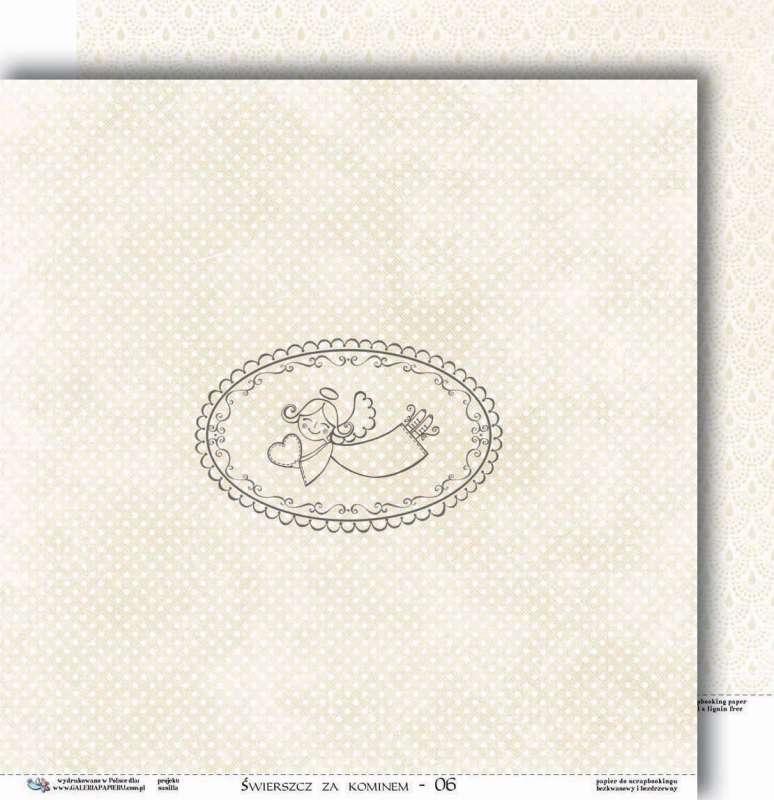 Oboustarnný papír - čtvrtka na scrapbooking Świerszcz za Kominem 06 Galeria Papieru