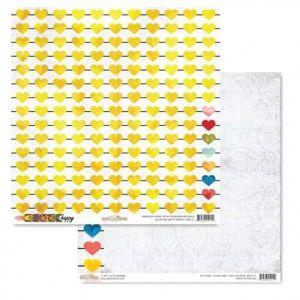 Oboustranná scrapbooková čtvrtka z kolekce Color Me Happy Hearts Glitz