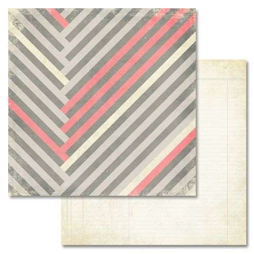 Oboustranná scrapbooková čtvrtka z kolekce Scrapbooková čtvrtka Love You Madly Stripe Glitz