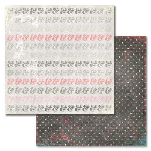 Oboustranná scrapbooková čtvrtka z kolekce Scrapbooková čtvrtka Love You Madly Ampersand Glitz