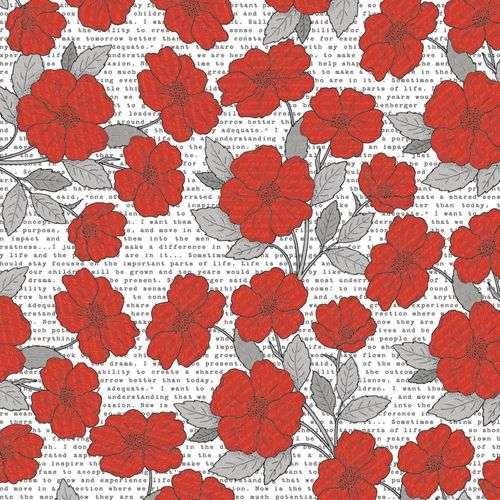 Oboustranná scrapbooková čtvrtka z kolekce Scrapbooková čtvrtka Stationery noted - Poppies Teresa Collins