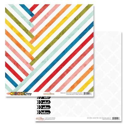 Oboustranná scrapbooková čtvrtka z kolekce Color Me Happy Stripe Glitz