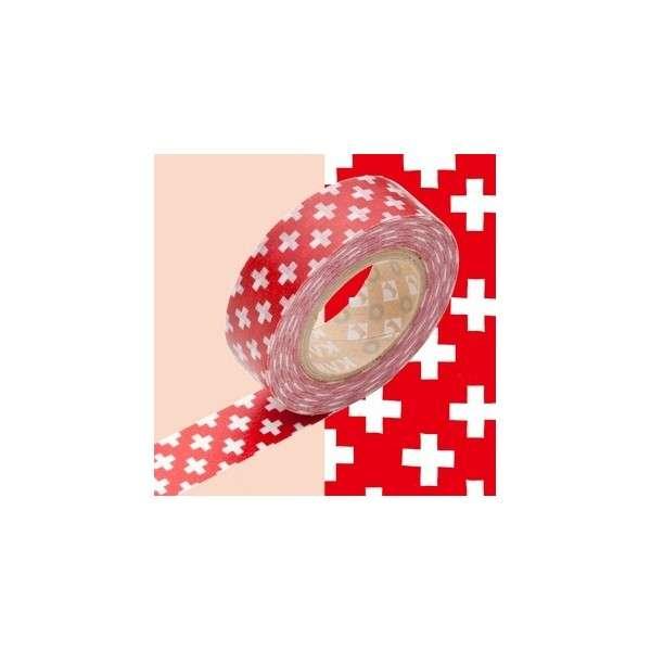 washi páska, na scrapbooking, jako dekorace - Kříže na červené Kamoi Kakoshi Co.