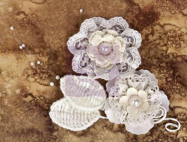 Květiny na scrapbooking - Květinová souprava Chantelle - Doily Prima Marketing