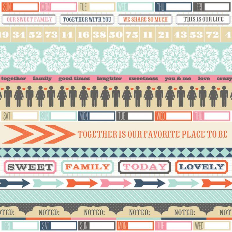 Oboustranná scrapbooková čtvrtka Family Stories Noted, Vhodné na journaling, Project Life, k dozdobení vašich scrapbookových stránek a alb. Teresa Collins