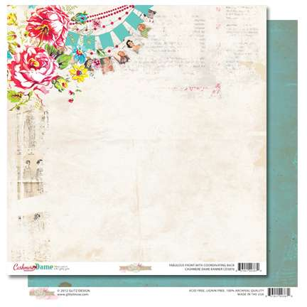 Oboustranná scrapbooková čtvrtka z kolekce Scrapbooková čtvrtka Cashmere Dame Banner Glitz
