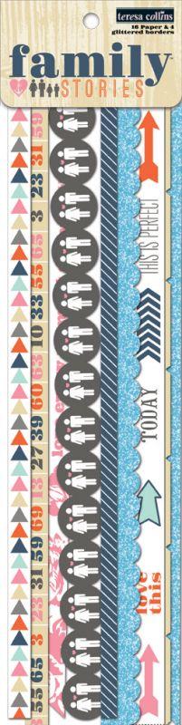 Papírové bordury pro Project Life, vaše sb stránky a alba - Family Stories Border Strips Teresa Collins