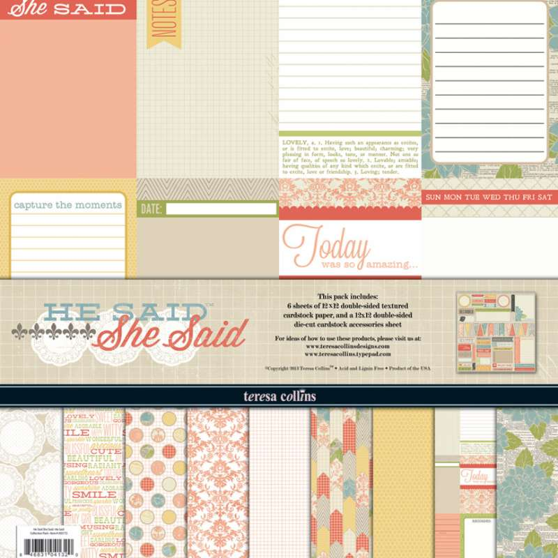 She Said: Collection Pack, sada papírů na scrapbooking a 1 list výseků a kartiček na zdobení stránek do alba Teresa Collins