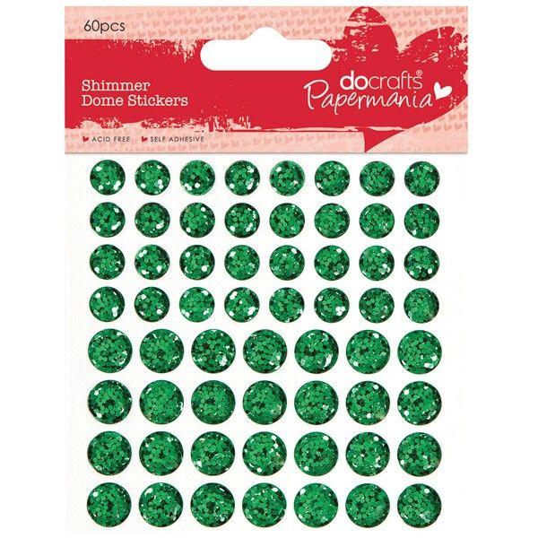 Třpytkaté vypouklé samolepicí tečky 60ks - zelené Design Objectives