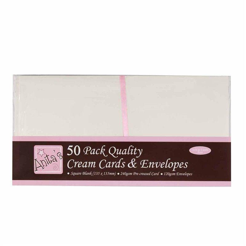 13x13 přání a obálky (50 ks) krémové 240 g/m2 - Sada blahopřání obálky a karty krémové čtvercové, cardmaking, výroba přání Anita´s