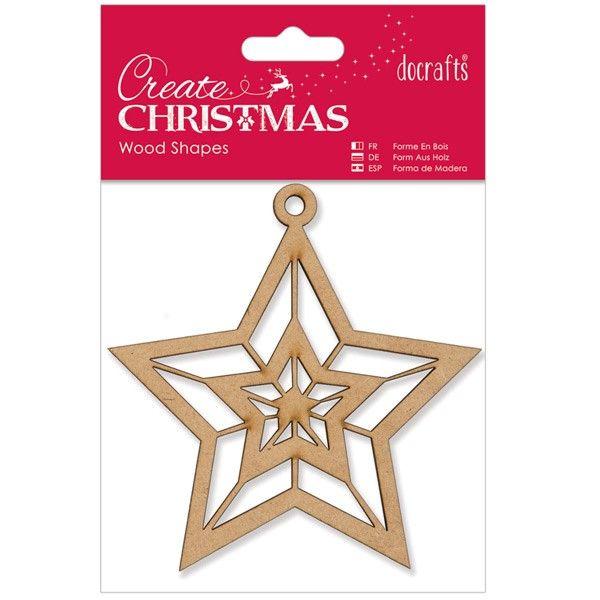 Dřevěná dekorace k zavěšení Vánoční hvězda PAPERMANIA