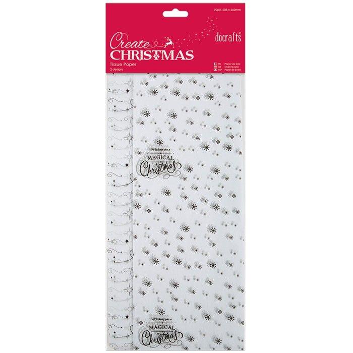 Hedvábný papír s potiskem (20ks) Vánoce Papermania