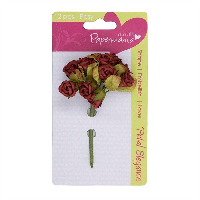 Kytice růžiček RED ROSE Papermania