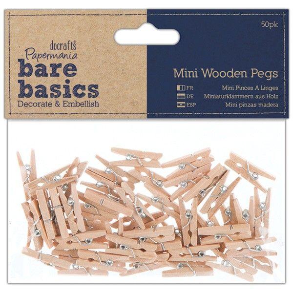 Mini dřevěné kolíčky 25x7mm - 50ks Papermania