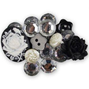 Mix knoflíků a dekorací černo-stříbrné (18ks)