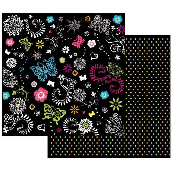 Oboustranný papír na scrapbook Černý s motýlky STAMPERIA