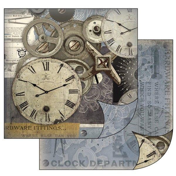 Oboustranný papír na scrapbook Hodiny a mechanismy STAMPERIA