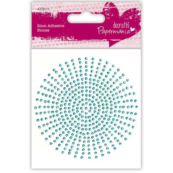 Samolepicí kamínky 424 ks (2mm) - Aqua na scrapbooking Papermania