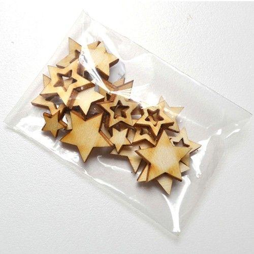 Dřevěné výřezy hvězdičky - sada k zdobení i dozdobení pro přání a scrapbooking
