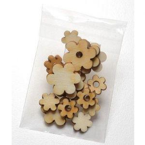 Dřevěné výřezy květy - 5 ks