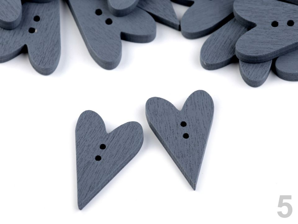 Dřevěný dekorační knoflík 21x33 mm šedé srdce - 2 ks - sada k zdobení i dozdobení pro přání a scrapbooking nezařazeno