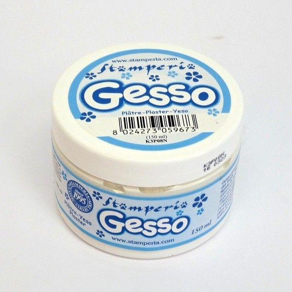 Gesso bílá krycí akrylová barva 150ml Stamperia, barva na mixed media