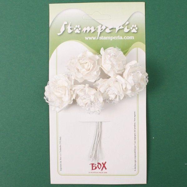 Kytice papírových růží s krajkou (6ks) bílé STAMPERIA