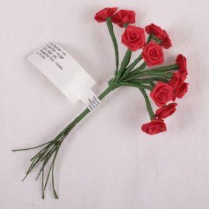 Kytice růžiček ze saténu 12ks červená