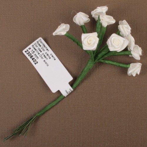 Kytice růžiček ze saténu 12ks krémová SCRAPBERRYS